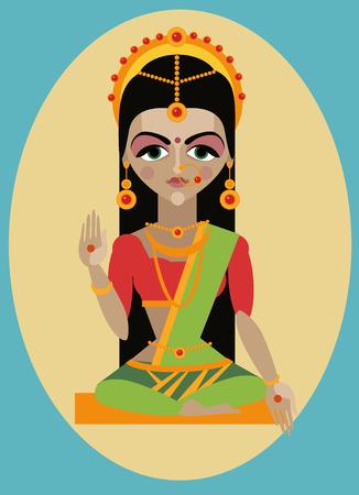 allegory painting: vector illustrationmata devi Parvati Traditional Hindu deity