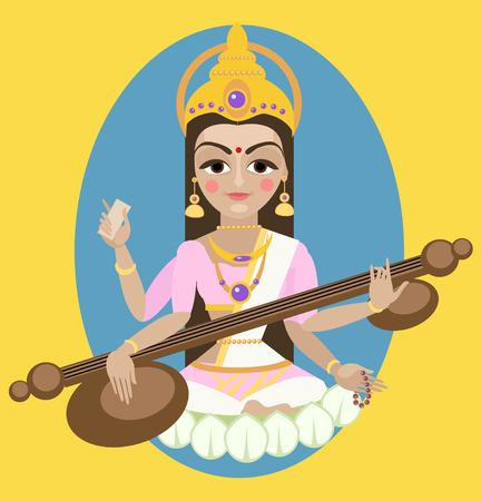 vector illustration  Sarasvati devi Traditional Hindu deity