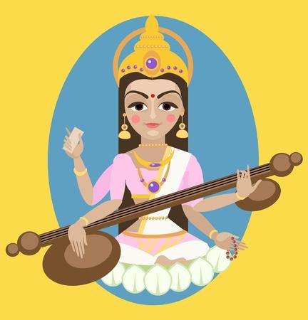 devi: vector illustration  Sarasvati devi Traditional Hindu deity