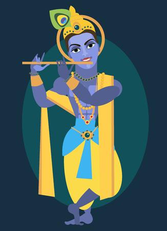 vector illustration lord Vishnu Krishna Traditional Hindu deity