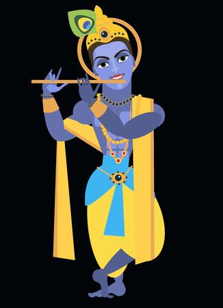 Vektor-Illustration Vishnu Krishna Traditionelle Hindu-Gottheit