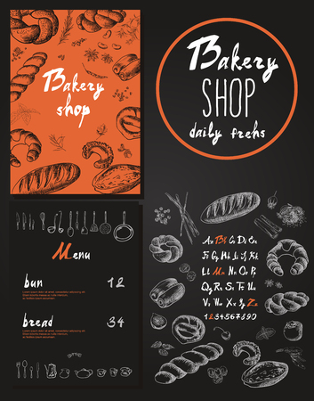 Bakery corporate identity. Bakery shop. Vector illustration