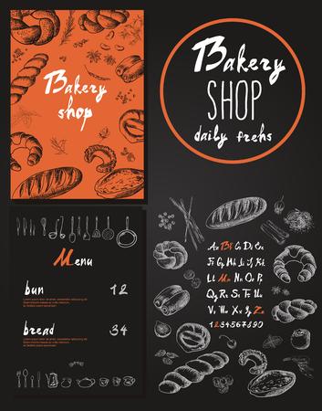 Panadería identidad corporativa. Pasteleria. ilustración vectorial
