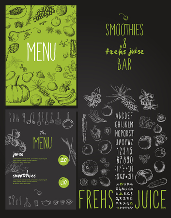 Smoothie met fruit, groenten en bessen. Smoothies en verse sappen bar menu Stock Illustratie