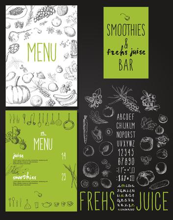 verduras verdes: Smoothie con las frutas, verduras y bayas. Batidos y zumos naturales barra de men�