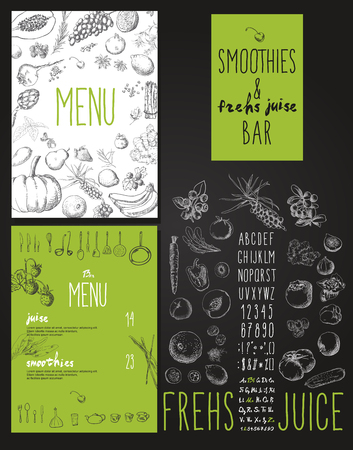 legumes: Smoothie de fruits, de légumes et de fruits. Smoothies et jus de fruits frais menu de la barre Illustration