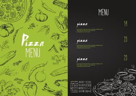 speisekarte: Pizza-Men� die Namen der Gerichte von Pizza, hawaiianisch, K�se, Huhn, Peperoni und anderen Zutaten Tomaten, Basilikum, ein Men� zu entwerfen mit Kreide stilisierte Zeichnung. Vektor-Set