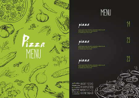 Pizza menu the names of dishes of Pizza, Hawaiian, cheese,  chicken, pepperoni and other ingredients tomato, basil, to design a menu stylized drawing with chalk. Vector set Illusztráció