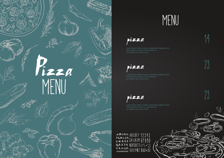 Pizza menu the names of dishes of Pizza, Hawaiian, cheese,  chicken, pepperoni and other ingredients tomato, basil, to design a menu stylized drawing with chalk. Vector set Vettoriali