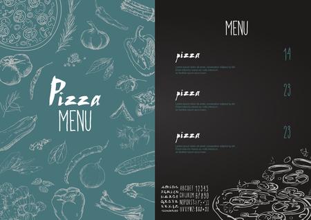menú de pizza los nombres de los platos de la pizza, hawaiano, queso, pollo, salchichones y otros ingredientes de tomate, albahaca, para diseñar un menú estilizado dibujo con tiza. El conjunto del vector