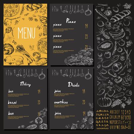 Restaurant Food Menu Vintage Design with blackboard chalk style Vector set  イラスト・ベクター素材