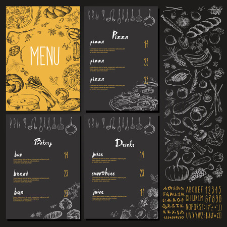 Restaurant Food Menu Vintage Design with blackboard chalk style Vector set 向量圖像