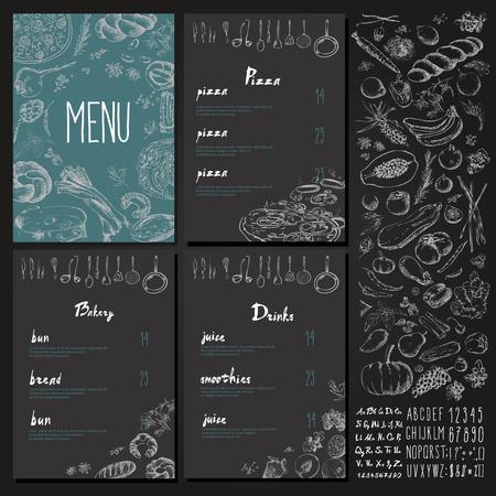 レストランの料理メニュー ビンテージ デザイン黒板チョーク スタイル ベクトルを設定