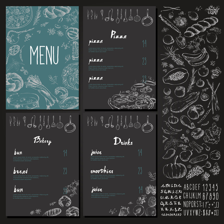Restaurant Food Menu Vintage Design with blackboard chalk style Vector set Illustration
