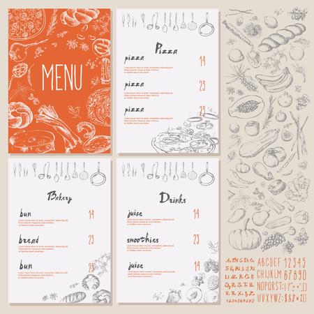 Restaurant Food Menu Vintage Design with blackboard chalk style Vector set Vector Illustration