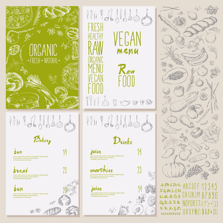 Restaurant organic natural vegan Food Menu Vintage Design with blackboard chalk style Vector set Illustration