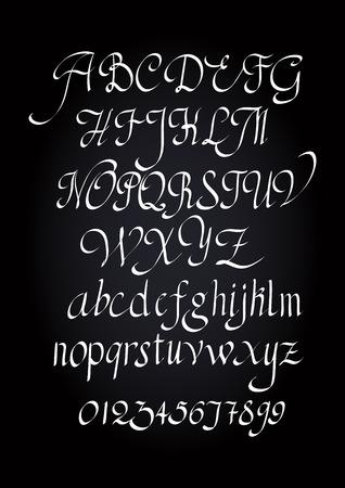 アルファベットの小文字、大文字の文字し、数字します。ベクトルのアルファベット。手描き文字。筆で書かれたアルファベットの文字。