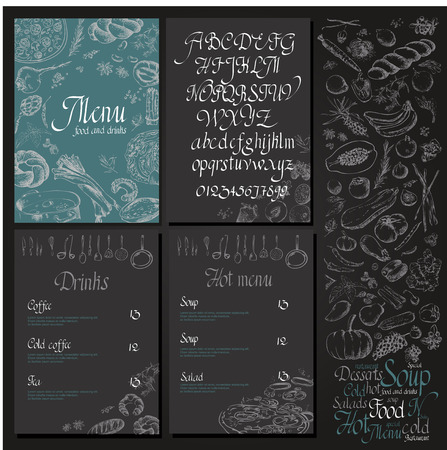 Restaurant organic natural vegan Food Menu Vintage Design with blackboard chalk style Vector set Çizim