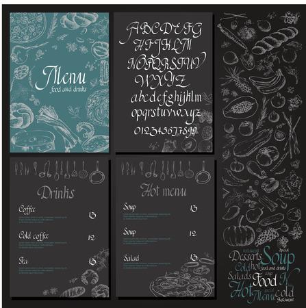 Restaurant organic natural vegan Food Menu Vintage Design with blackboard chalk style Vector set Illustration