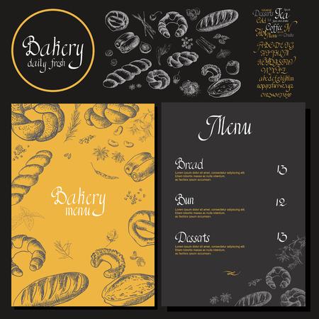 ベーカリー コーポレート ・ アイデンティティ。パン屋さんのテンプレートです。黒板チョーク スタイル ベクトルを設定