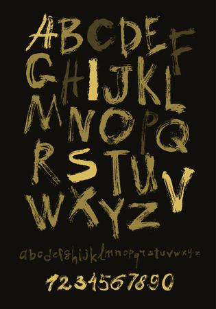 alfabeto graffiti: Alfabeto lettere minuscole, maiuscole e numeri. Vector alfabeto. lettere disegnato a mano. Le lettere dell'alfabeto scritte con un oro pennello su nero.