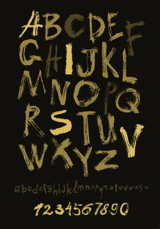 Alphabet letters lowercase, uppercase and numbers. Vector alphabet. Hand drawn letters. Letters of the alphabet written with a paint brush gold on black. Illustration
