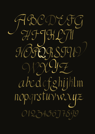 manuscript: Alphabet letters lowercase, uppercase and numbers. Vector alphabet. Hand drawn letters. Letters of the alphabet written with a paint brush gold on black. Illustration