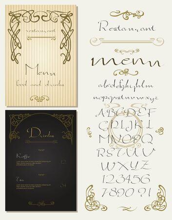 secession: Set of vintage art nouveau styled restaurant menu design and font, lettering, decorative items.
