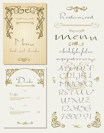 decorative items: Set of vintage art nouveau styled restaurant menu design and font, lettering, decorative items.