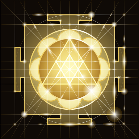 yantra: Ganapati Yantra - cosmic conductor of energy. Yantra Sree Ganesha. Sacred Geometry Illustration