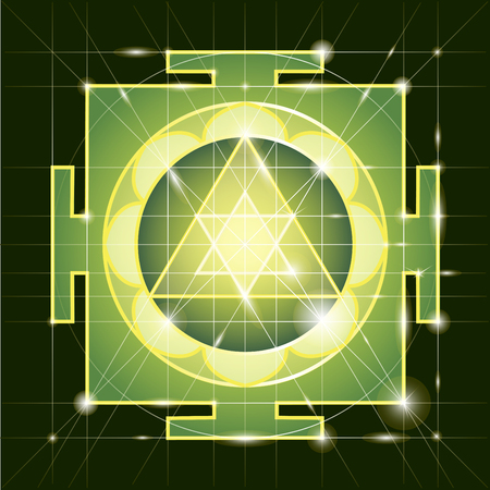 universal enlightenment: Ganapati Yantra - cosmic conductor of energy. Yantra Sree Ganesha. Sacred Geometry Illustration