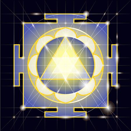 tantra: Ganapati Yantra - cosmic conductor of energy. Yantra Sree Ganesha. Sacred Geometry Illustration