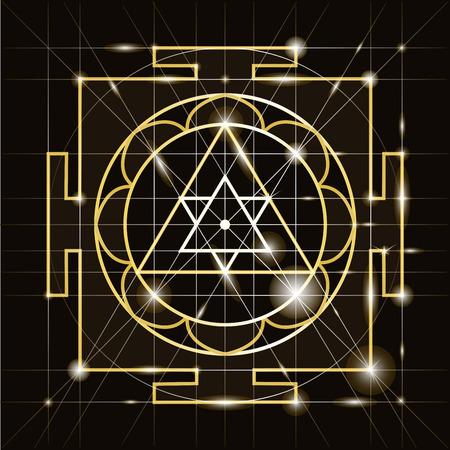 Ganapati Yantra - cosmic conductor of energy. Yantra Sree Ganesha. Sacred Geometry Ilustrace