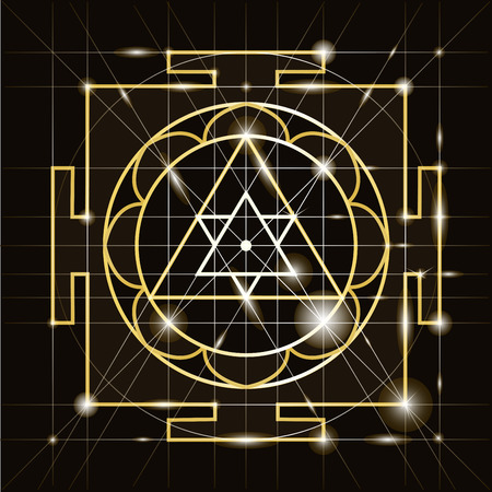 Ganapati Yantra - cosmic conductor of energy. Yantra Sree Ganesha. Sacred Geometry Illustration