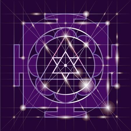 yantra: Ganapati Yantra - cosmic conductor of energy. Yantra Sree Ganesha. Sacred Geometry Illustration