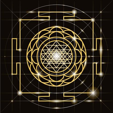 ヤントラ - エネルギーの宇宙指揮者。ヤントラ スリーカンテーラヴァ。神聖な幾何学  イラスト・ベクター素材