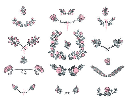 black and pink: Big set of floral graphic design elements graphic, wreaths, ribbons and labels.  gold, black, pink colors
