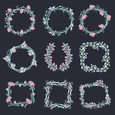 Grote reeks van bloemen grafische ontwerp elementen grafisch, kransen, linten en labels. goud, zwart, roze kleuren