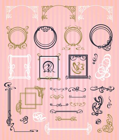 oldfield: decorative items and scope in modern style Illustration