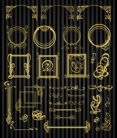 decorative element: decorative items and scope in modern style Illustration