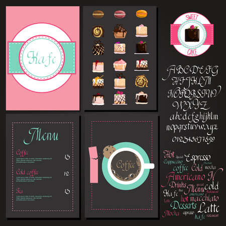 macaroon: Coffee drink menu Set with cursive lettering and different coffee recipes. cakes and cupcakes macaroon. Illustration