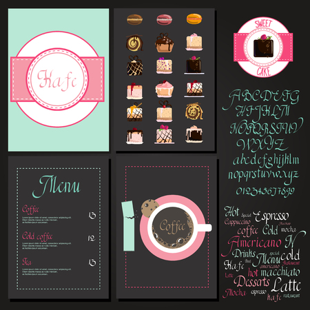 chocolate cake: Coffee drink menu Set with cursive lettering and different coffee recipes. cakes and cupcakes macaroon. Illustration