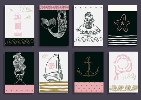 fisher man: Hand drawn sea icons cartoon set with sailor, lighthouse, mermaid, ship and other. Illustration