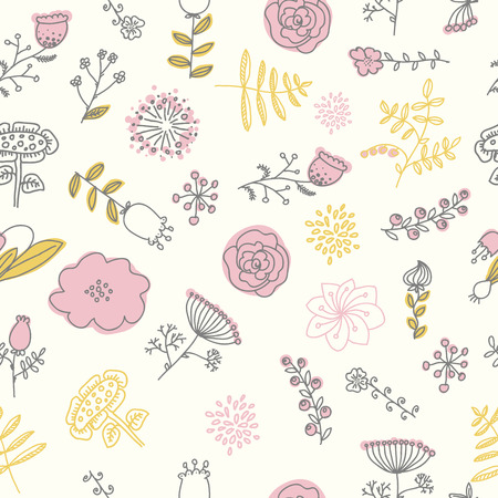 Elegance Seamless pattern with flowers, vector floral illustration in vintage style. Spring color, pink, white, black, gold.