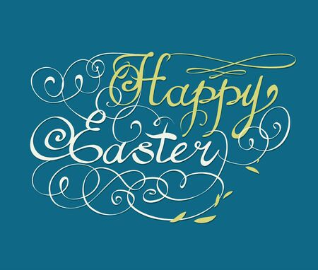 ostern: HAPPY EASTER hand lettering handmade calligraphy scalable and editable vector illustration
