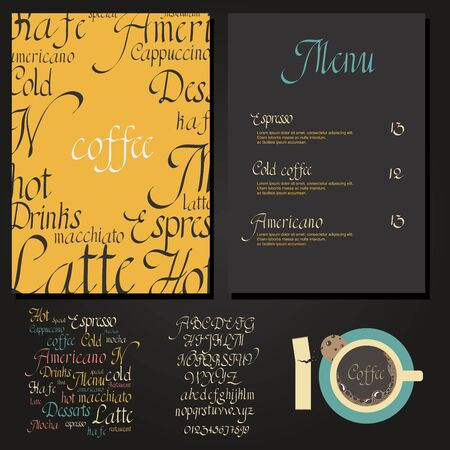 frothy: Coffee drink menu Set with cursive lettering and different coffee recipes