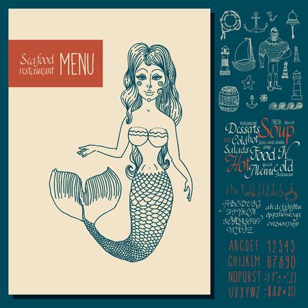 marinero: El dise�o del men� de mariscos de la vendimia. Drenaje de la mano letras de la fuente.