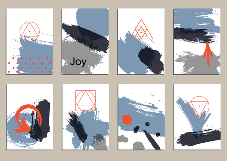 Set of universal cards. Hand Drawn textures.  Design for banner, poster  invitation placard brochure flyer. Vector. Isolated.