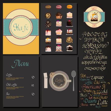 cursive: Coffee drink menu Set with cursive lettering and different coffee recipes. cakes and cupcakes macaroon. Illustration