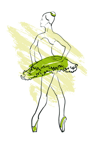 rehearsal: Vector hand drawing ballerina figure, watercolor illustration